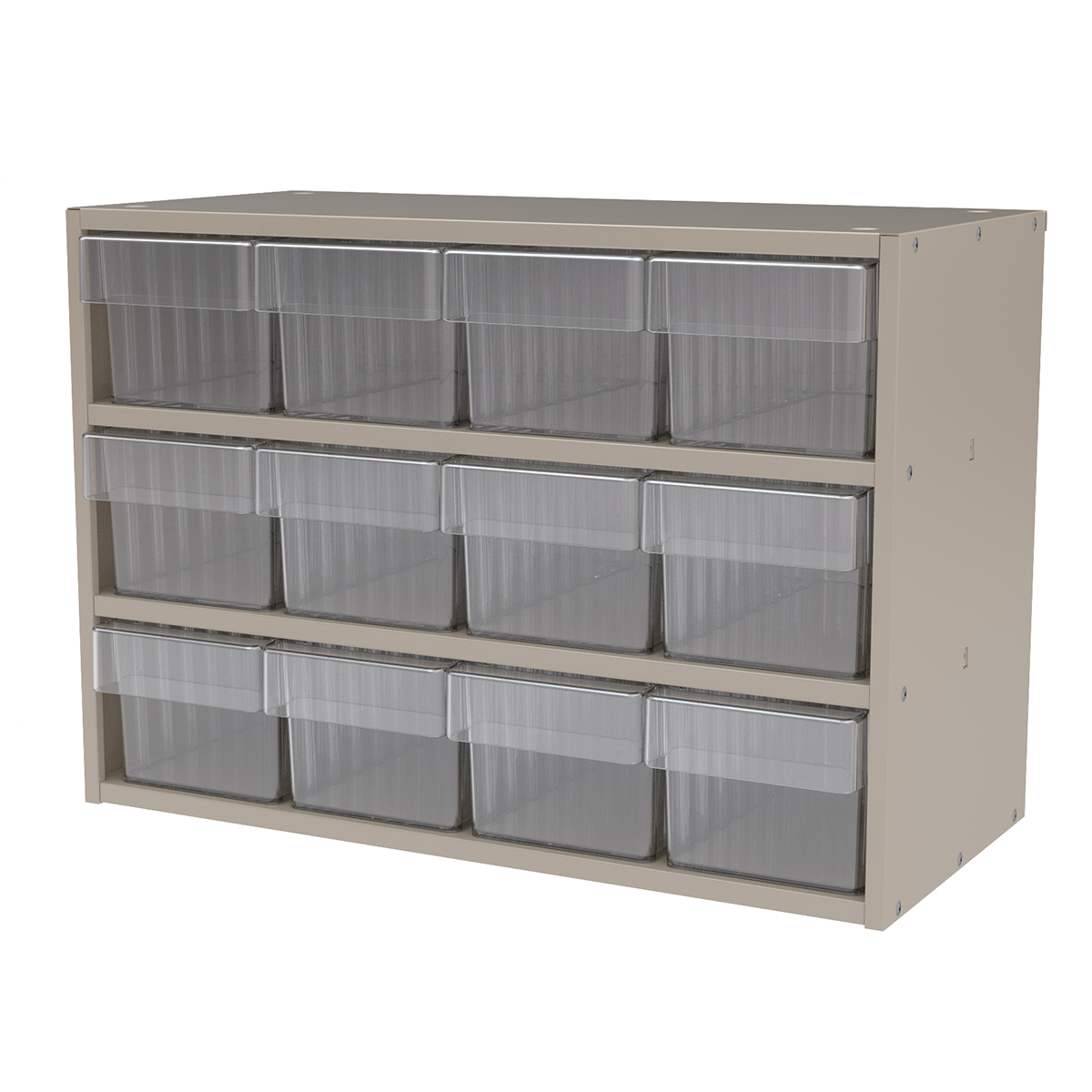 Item DISCONTINUED by Manufacturer.  Modular Cabinet, 23x11x16, 12 Drawers, Putty/Clear (AD2311P62CRY).  This item sold in carton quantities of 1.
