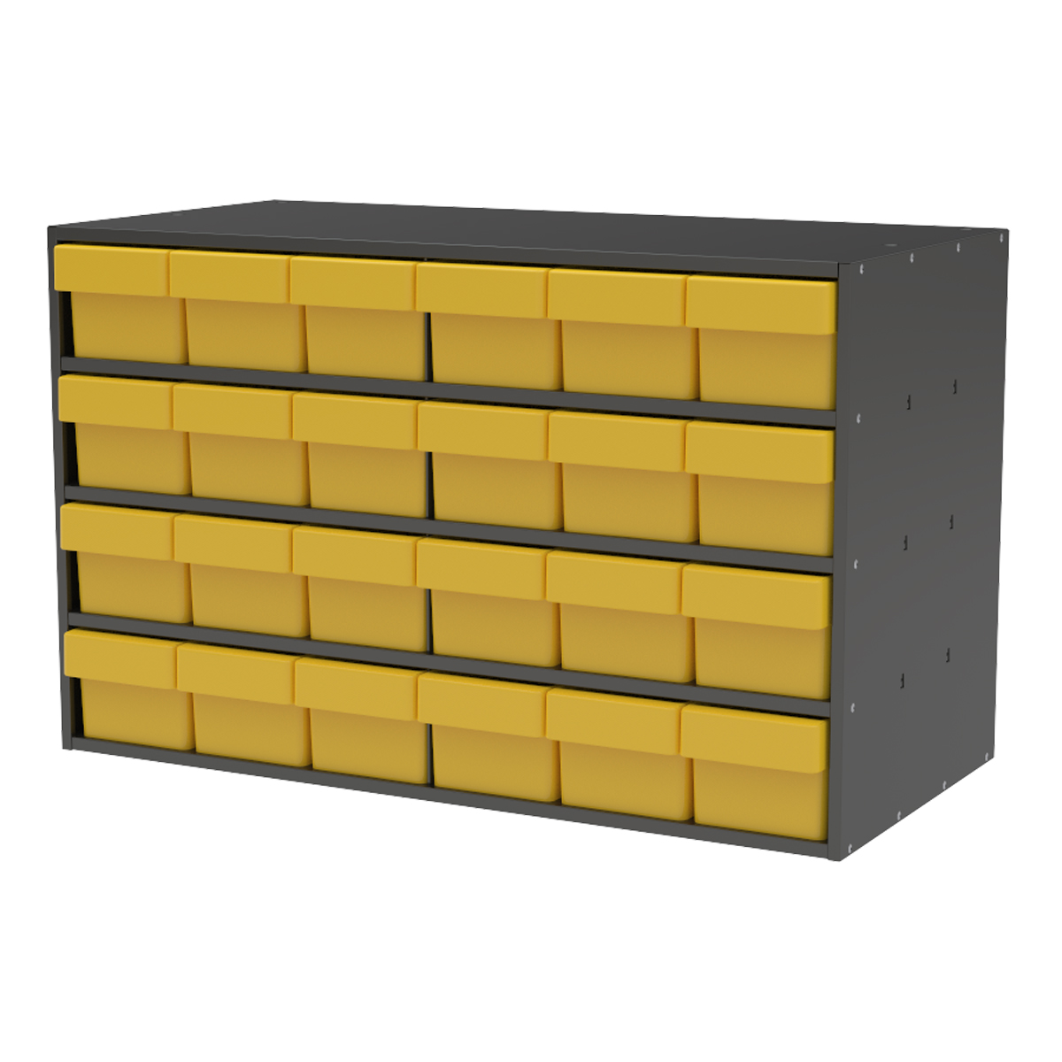 Item DISCONTINUED by Manufacturer.  Stackable Cabinet, 35x17x22, 24 Drawers, Gray/Yellow (AD3517C68YEL).  This item sold in carton quantities of 1.