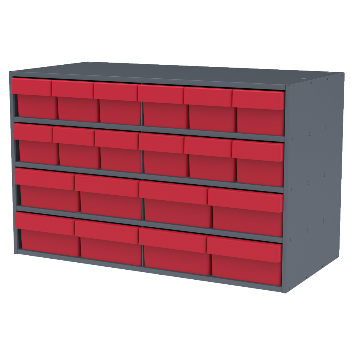 Item DISCONTINUED by Manufacturer.  Stackable Cabinet, 35x17x22, 16 Asst. Drawers, Gray/Red (AD3517CASTRED).  This item sold in carton quantities of 1.