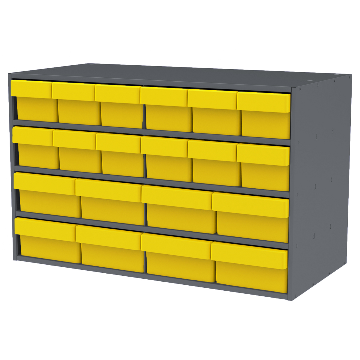 Stackable Cabinet, 35x17x22, 16 Asst. Drawers, Gray/Red (AD3517CASTYEL).  This item sold in carton quantities of 1.