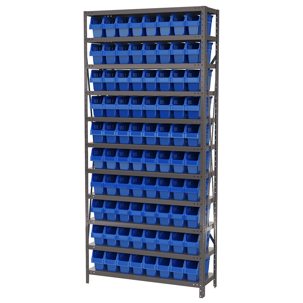 Steel Shelving Kit, 12x36x79, 80 Bins, Gray/Blue (AS1279040B).  This item sold in carton quantities of 1.