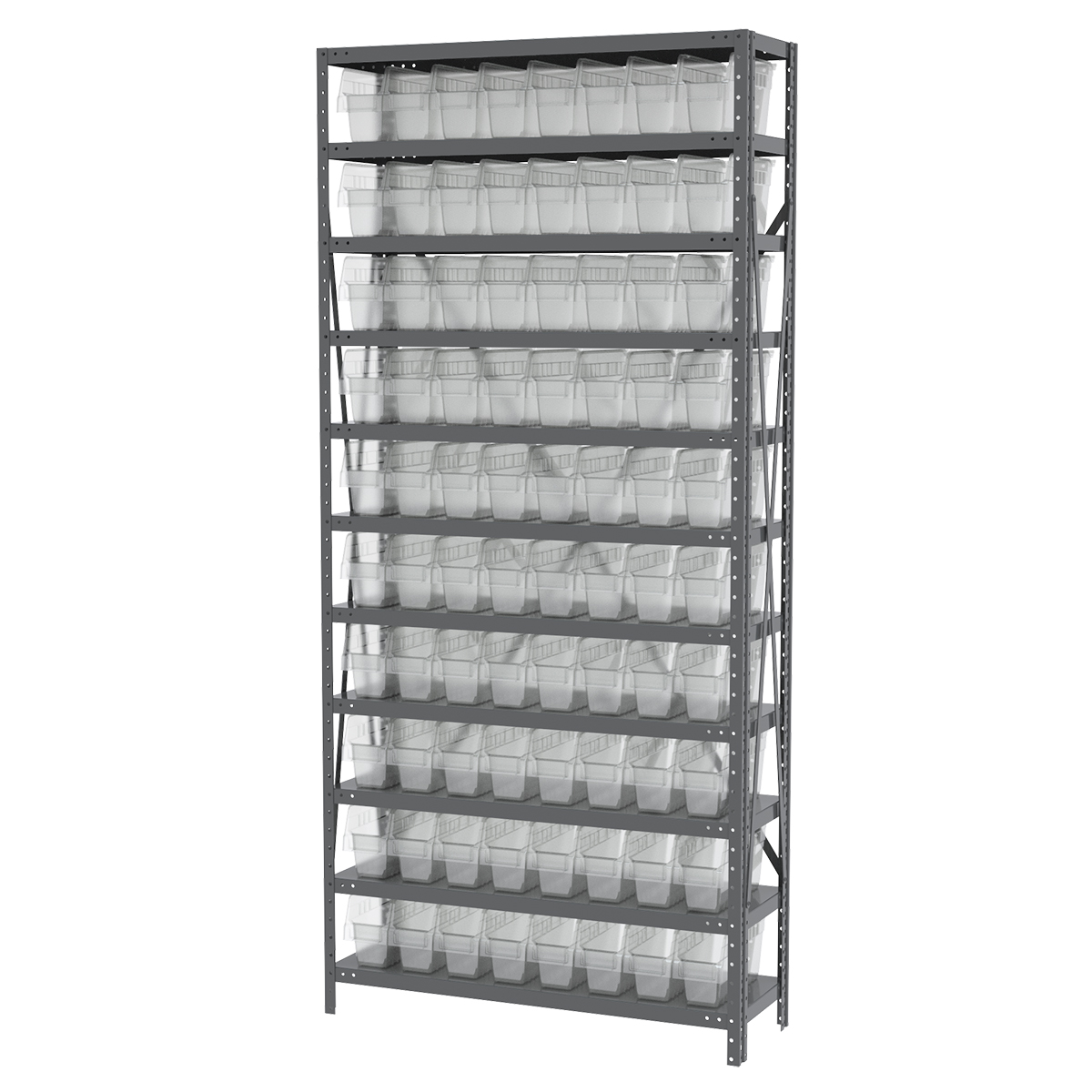 Steel Shelving Kit, 12x36x79, 80 Bins, Gray/Clear (AS1279040SC).  This item sold in carton quantities of 1.