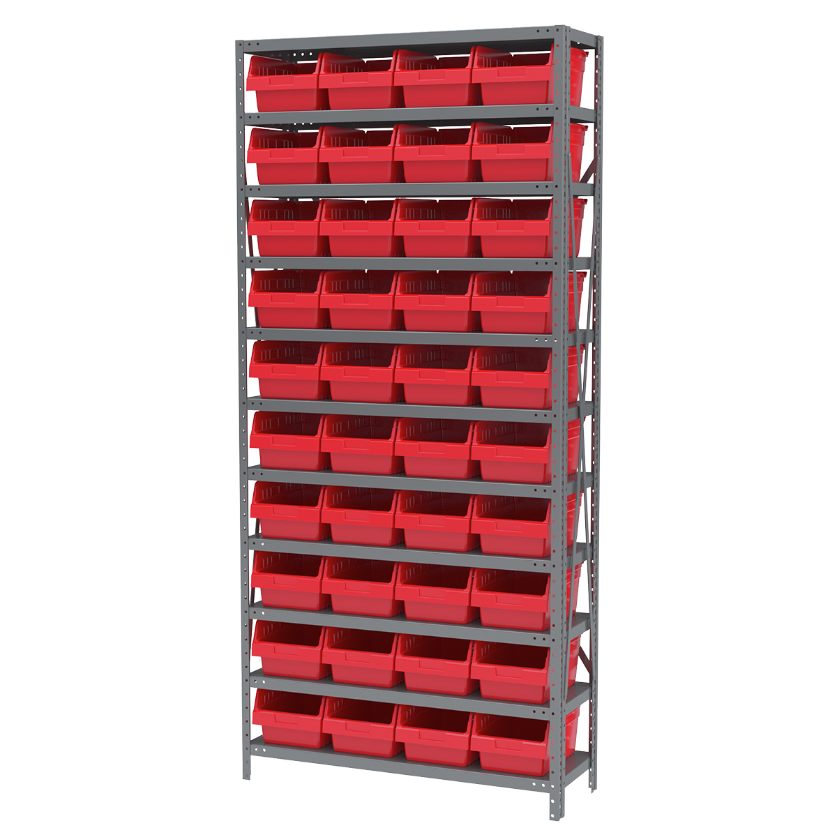 Steel Shelving Kit, 12x36x79, 40 Bins, Gray/Red (AS1279080R).  This item sold in carton quantities of 1.