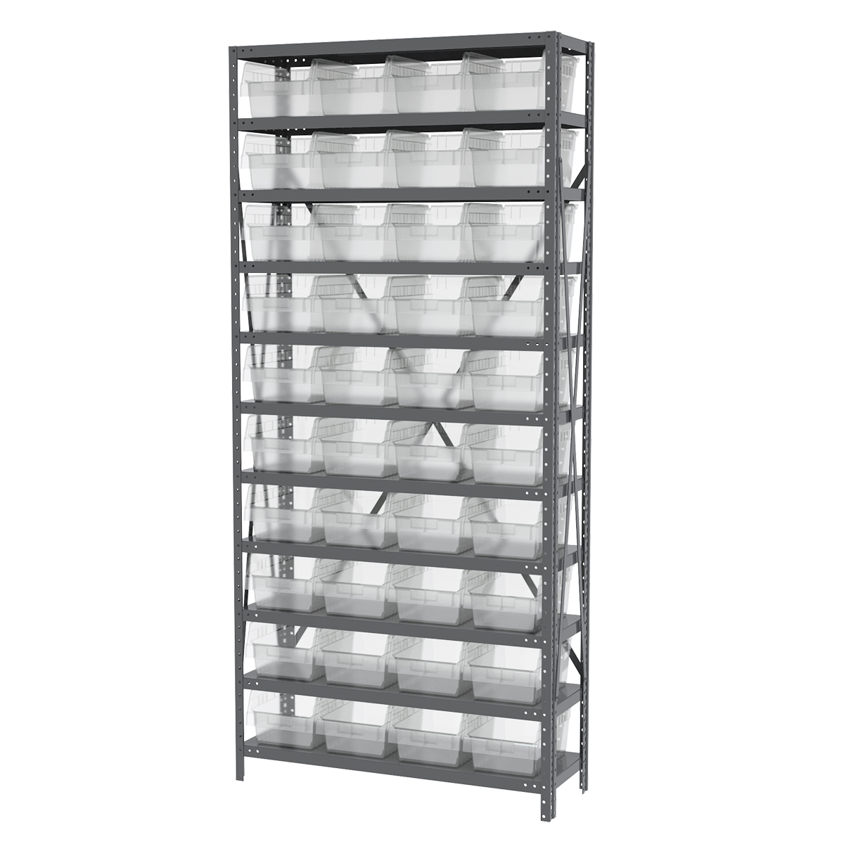 Steel Shelving Kit, 12x36x79, 40 Bins, Gray/Clear (AS1279080SC).  This item sold in carton quantities of 1.