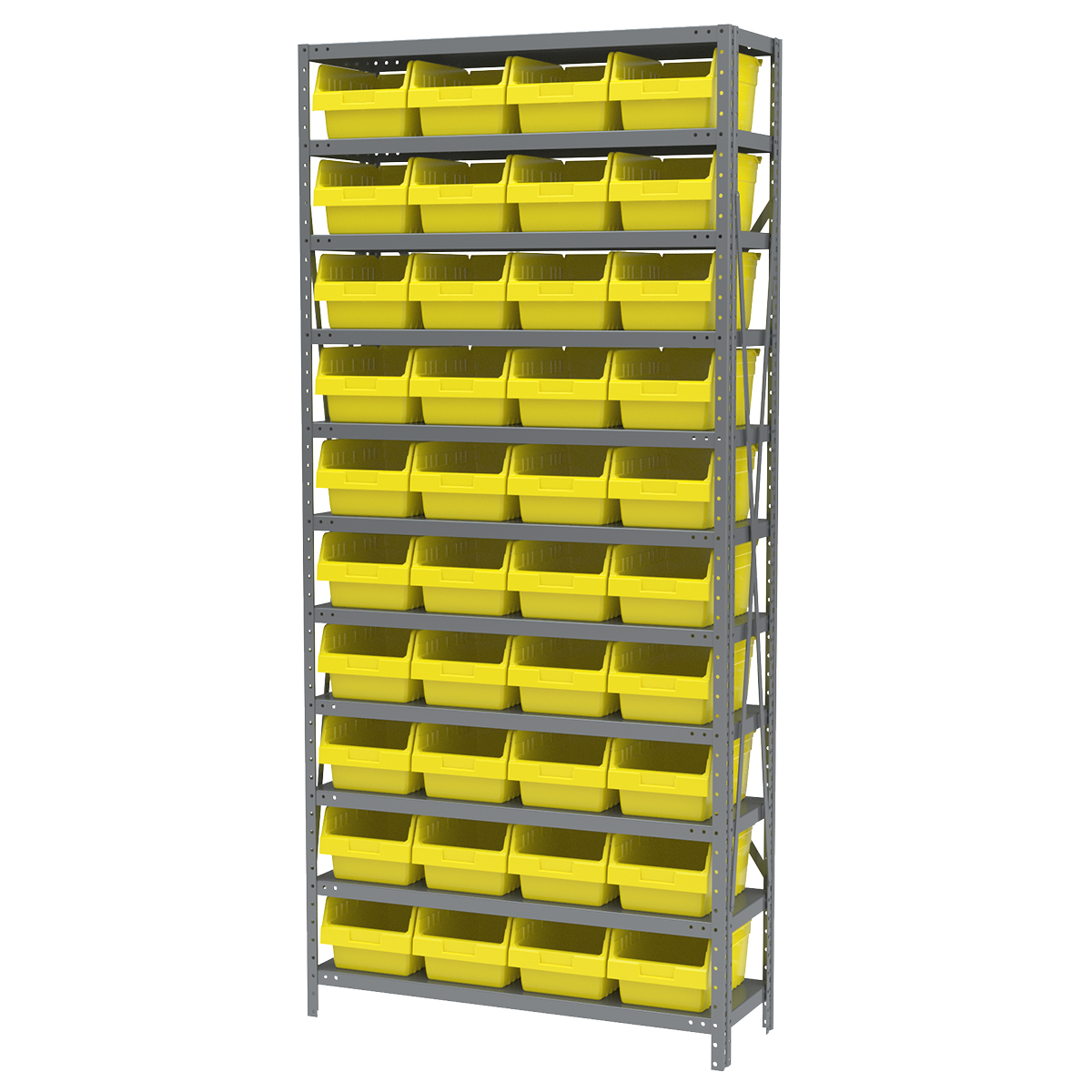 Steel Shelving Kit, 12x36x79, 40 Bins, Gray/Yellow (AS1279080Y).  This item sold in carton quantities of 1.