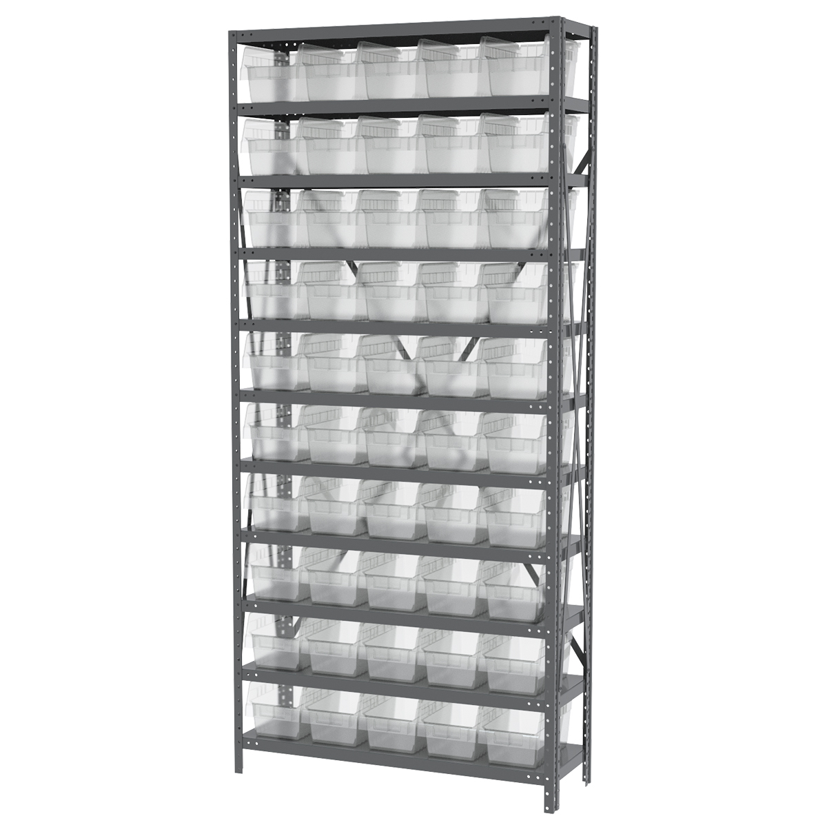 Steel Shelving Kit, 12x36x79, 50 Bins, Gray/Clear (AS1279090SC).  This item sold in carton quantities of 1.