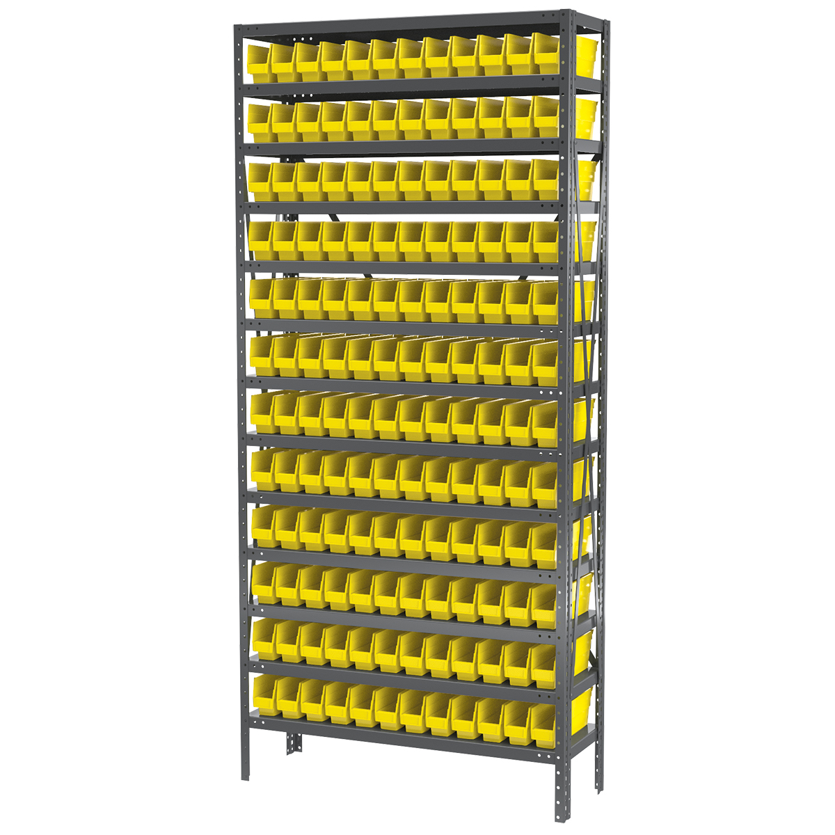Steel Shelving Kit, 12x36x79, 144 Bins, Gray/Yellow (AS1279110Y).  This item sold in carton quantities of 1.