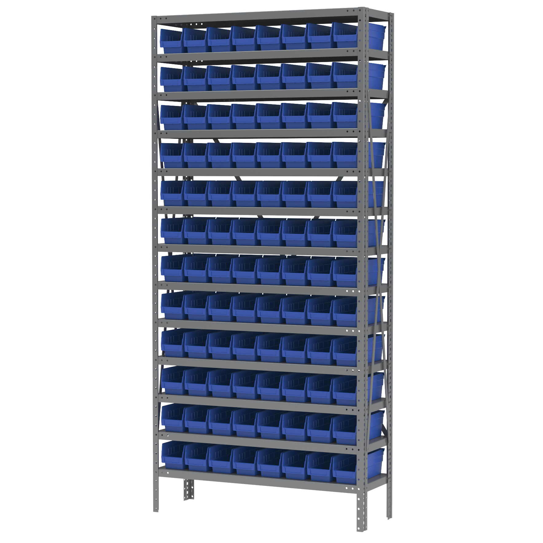 Steel Shelving Kit, 12x36x79, 96 Bins, Gray/Blue (AS1279120B).  This item sold in carton quantities of 1.
