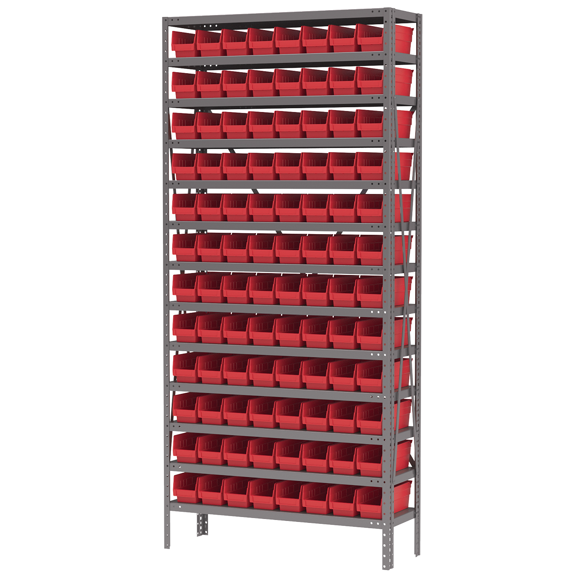 Steel Shelving Kit, 12x36x79, 96 Bins, Gray/Red (AS1279120R).  This item sold in carton quantities of 1.