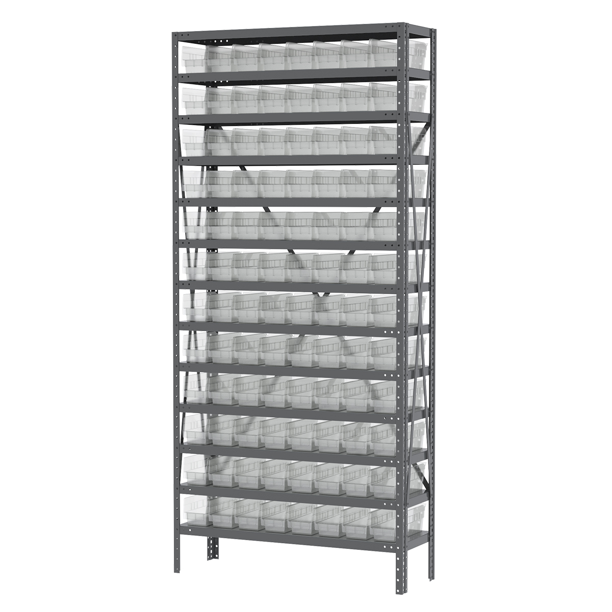 Steel Shelving Kit, 12x36x79, 96 Bins, Gray/Clear (AS1279120SC).  This item sold in carton quantities of 1.