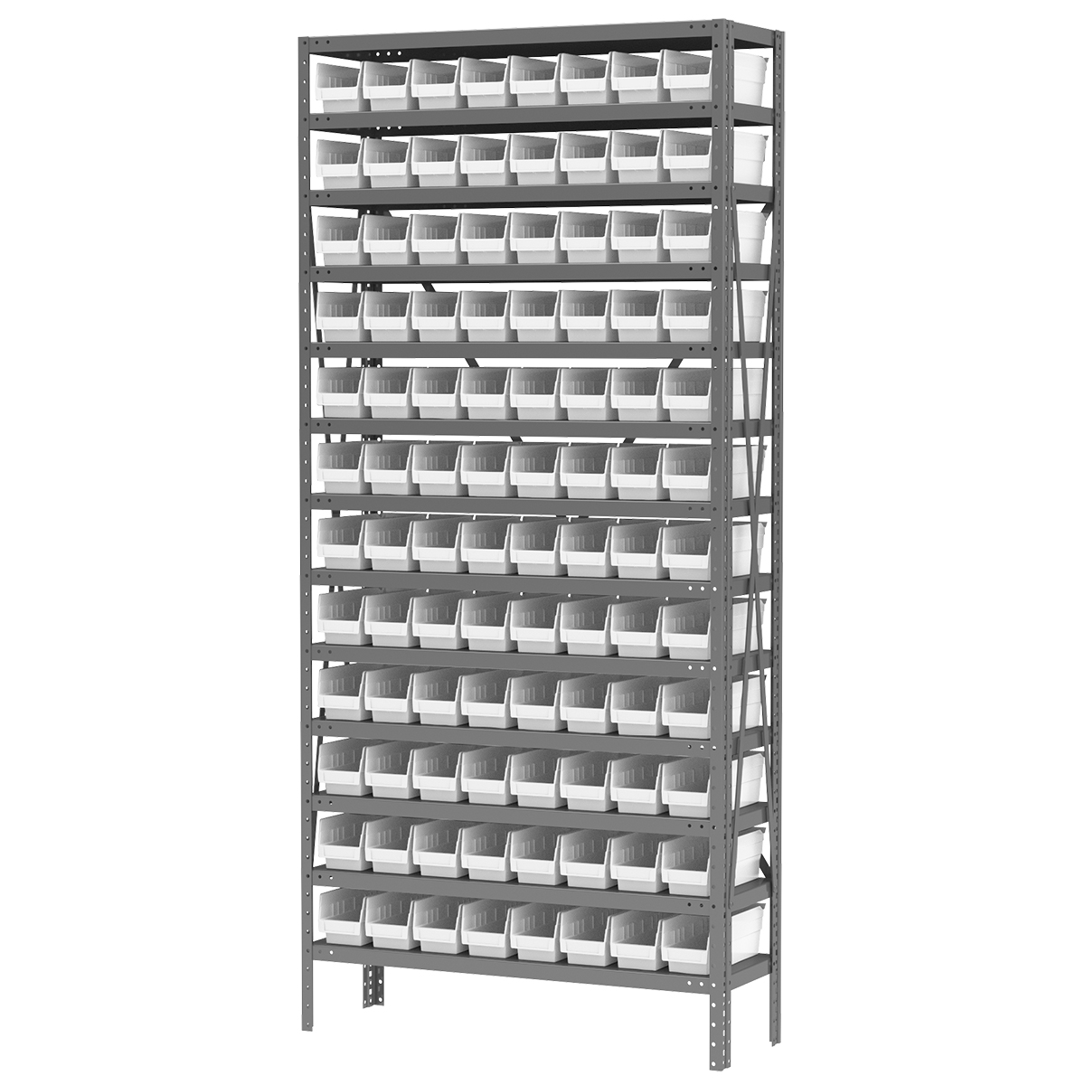 Steel Shelving Kit, 12x36x79, 96 Bins, Gray/White (AS1279120W).  This item sold in carton quantities of 1.