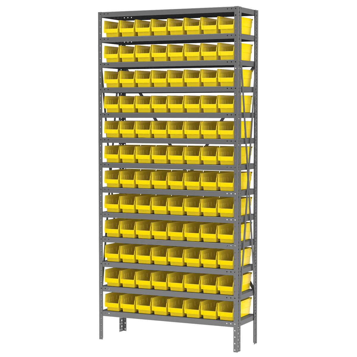 Steel Shelving Kit, 12x36x79, 96 Bins, Gray/Yellow (AS1279120Y).  This item sold in carton quantities of 1.