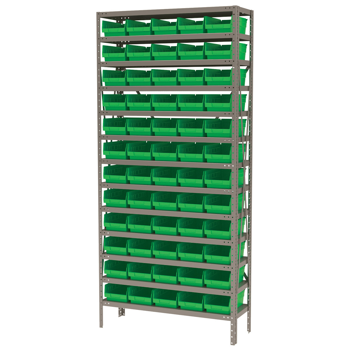 Steel Shelving Kit, 12x36x79, 60 Bins, Gray/Green (AS1279130G).  This item sold in carton quantities of 1.