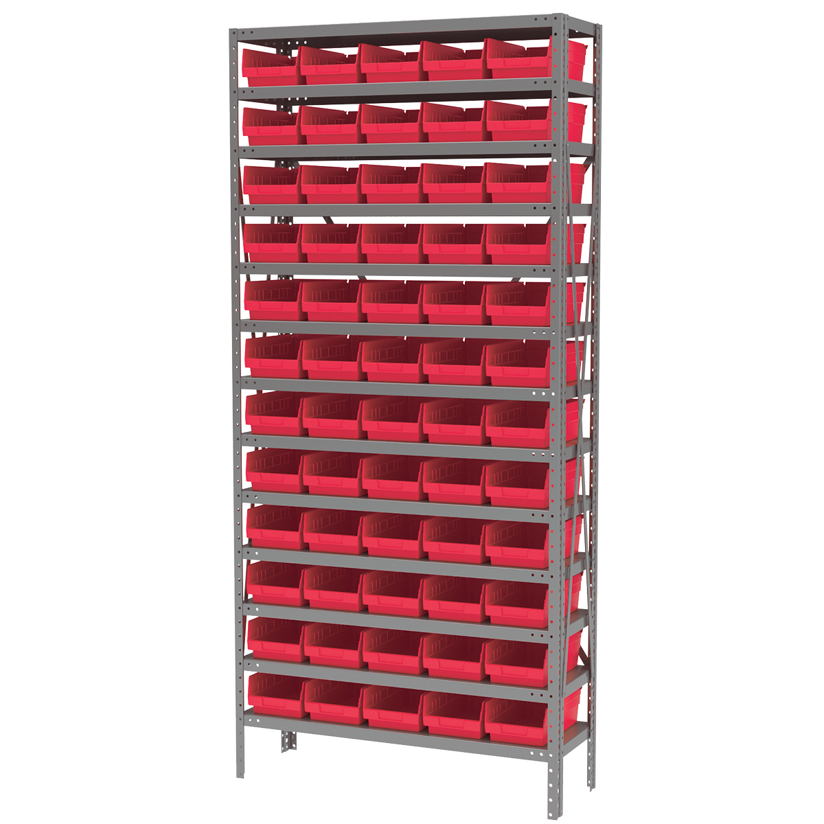 Steel Shelving Kit, 12x36x79, 60 Bins, Gray/Red (AS1279130R).  This item sold in carton quantities of 1.
