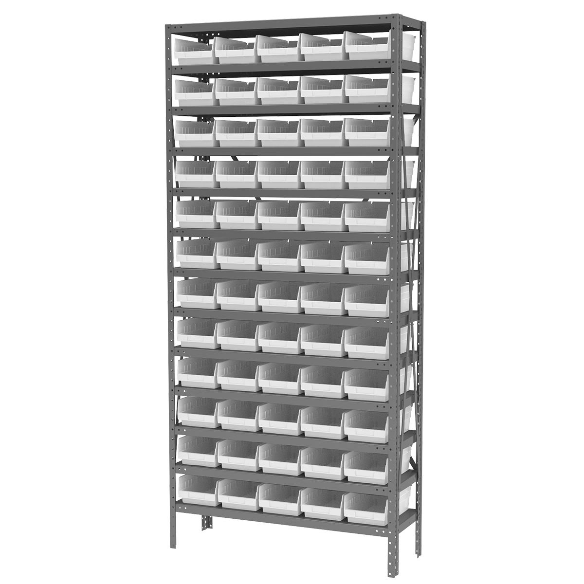 Steel Shelving Kit, 12x36x79, 60 Bins, Gray/White (AS1279130W).  This item sold in carton quantities of 1.