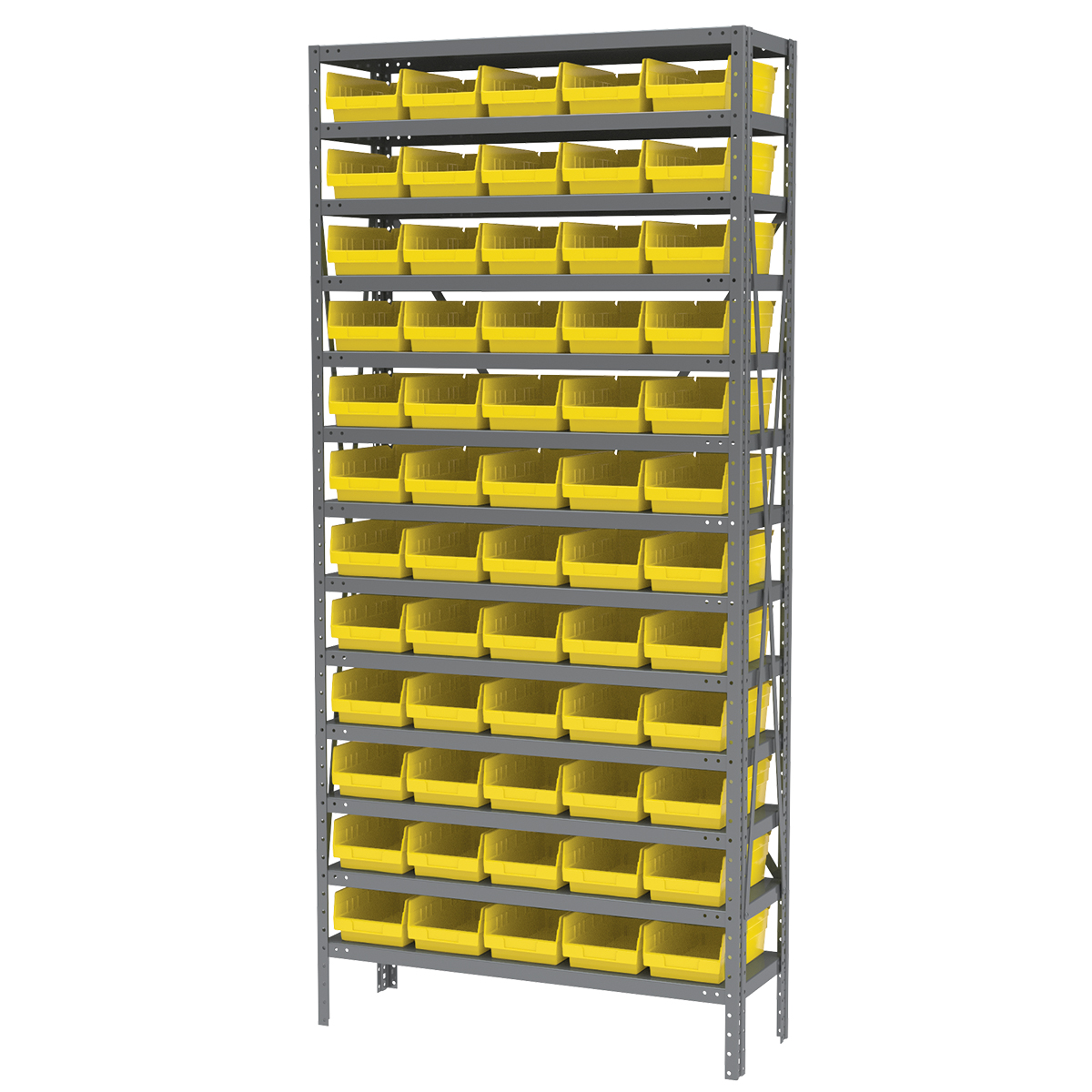 Steel Shelving Kit, 12x36x79, 60 Bins, Gray/Yellow (AS1279130Y).  This item sold in carton quantities of 1.