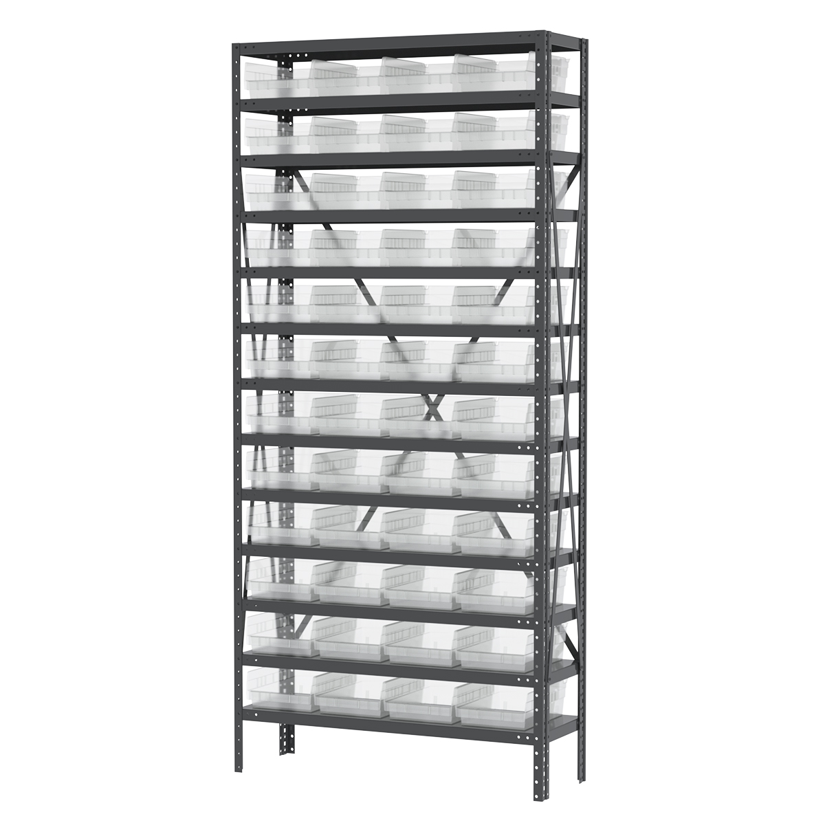 Steel Shelving Kit, 12x36x79, 48 Bins, Gray/Clear (AS1279150SC).  This item sold in carton quantities of 1.