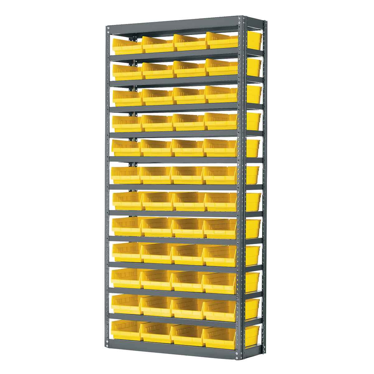 Steel Shelving Kit, 12x36x79, 48 Bins, Gray/Yellow (AS1279150Y).  This item sold in carton quantities of 1.
