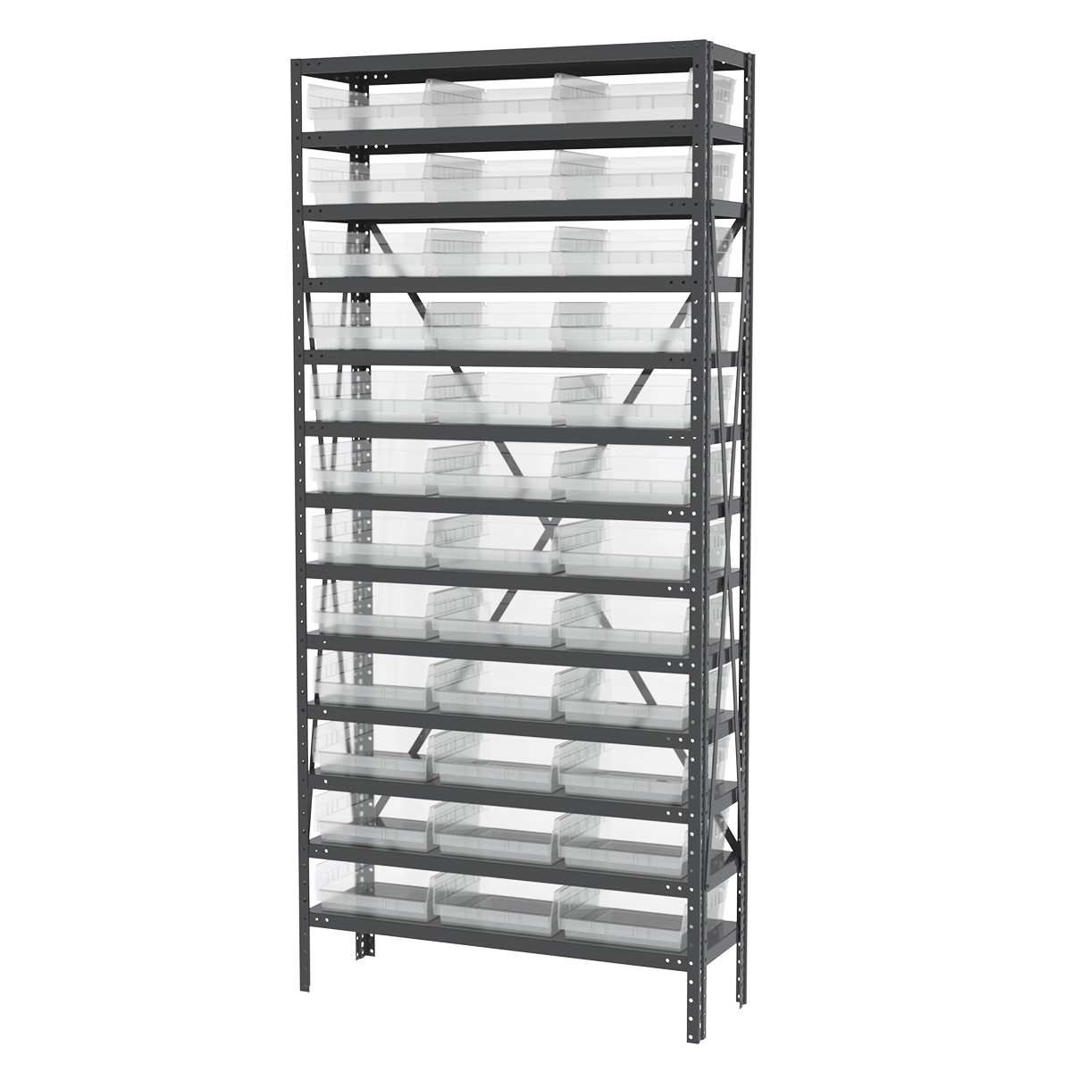 Steel Shelving Kit, 12x36x79, 36 Bins, Gray/Clear (AS1279170SC).  This item sold in carton quantities of 1.
