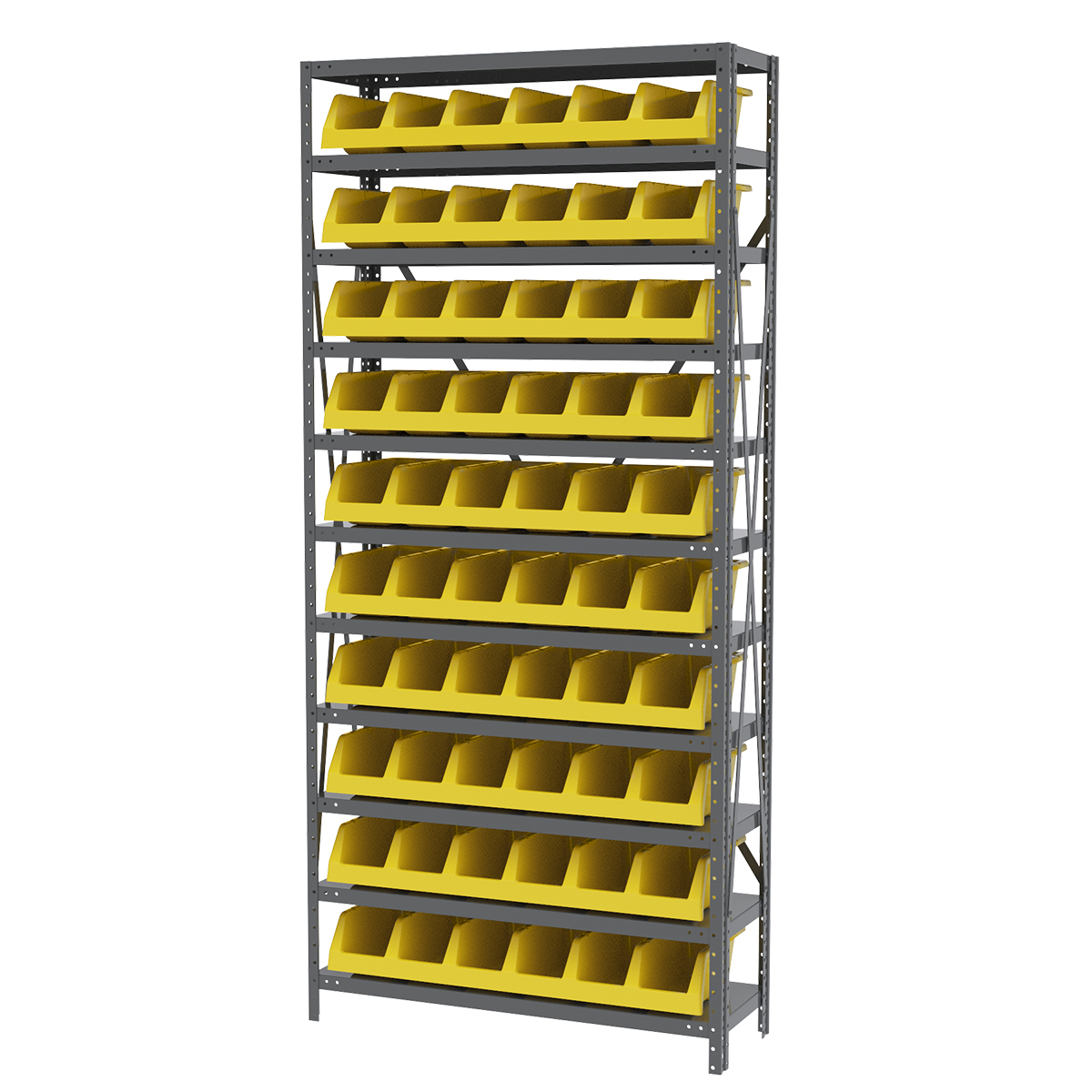 Steel Shelving Kit, 12x36x79, 10 Bins, Gray/Yellow (AS1279312Y).  This item sold in carton quantities of 1.