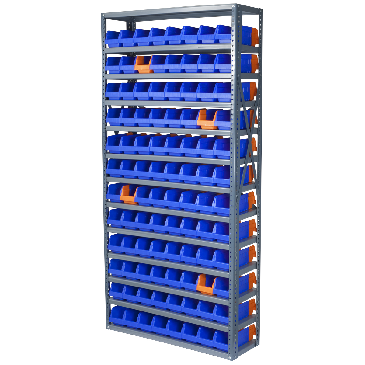 Steel Shelving Kit, 12x36x79, 96 Bins, Gray/Blue/Orange (AS127936442B).  This item sold in carton quantities of 1.