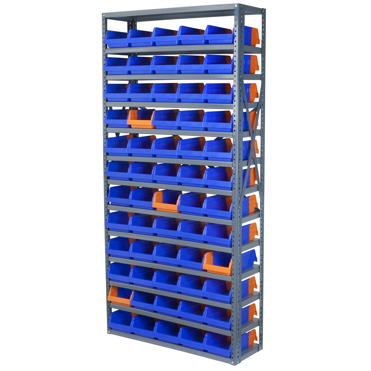 Steel Shelving Kit, 12x36x79, 60 Bins, Gray/Blue/Orange (AS127936462B).  This item sold in carton quantities of 1.