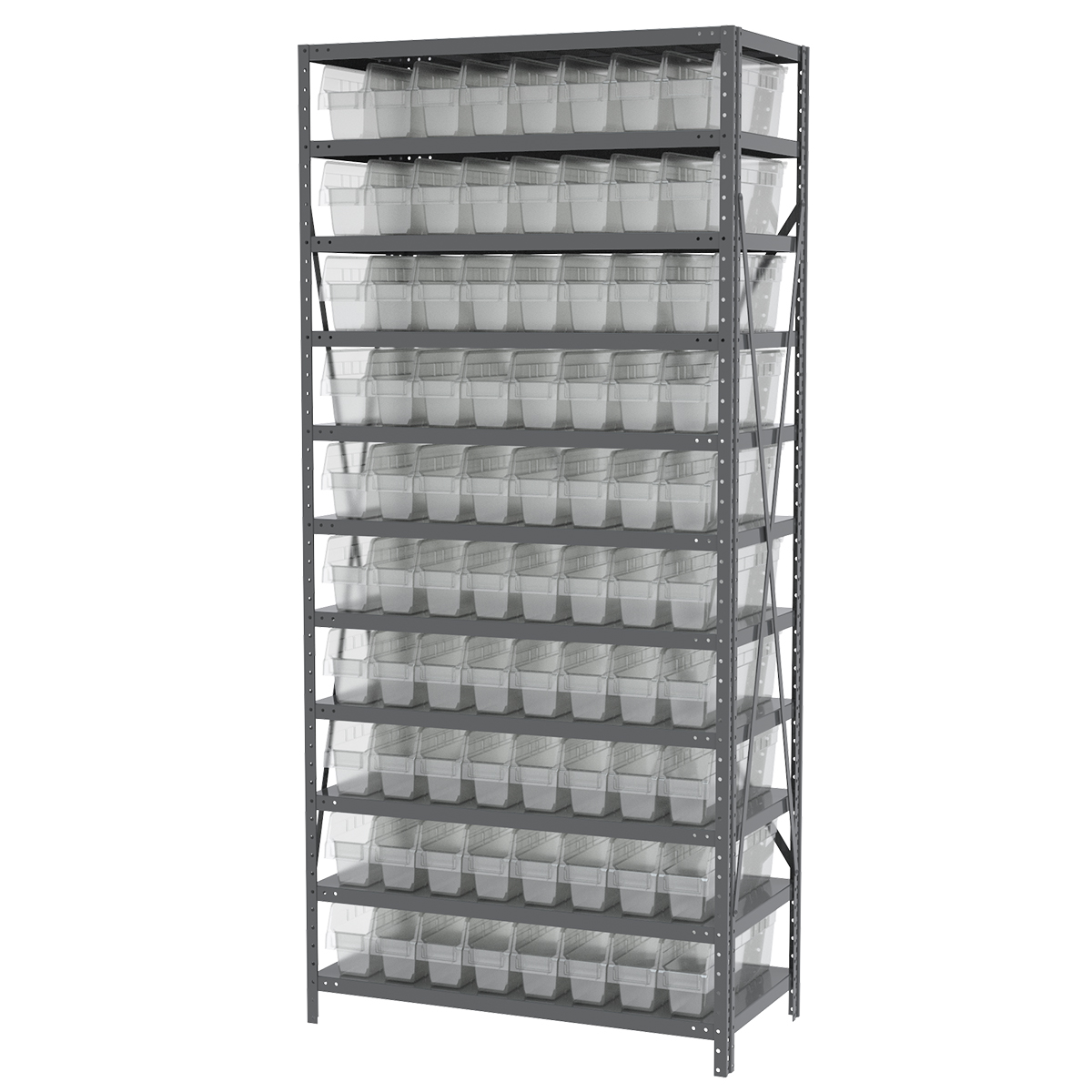 Steel Shelving Kit, 18x36x79, 80 Bins, Gray/Clear.  This item sold in carton quantities of 1.