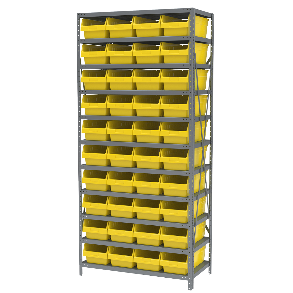 Steel Shelving Kit, 18x36x79, 40 Bins, Gray/Yellow.  This item sold in carton quantities of 1.