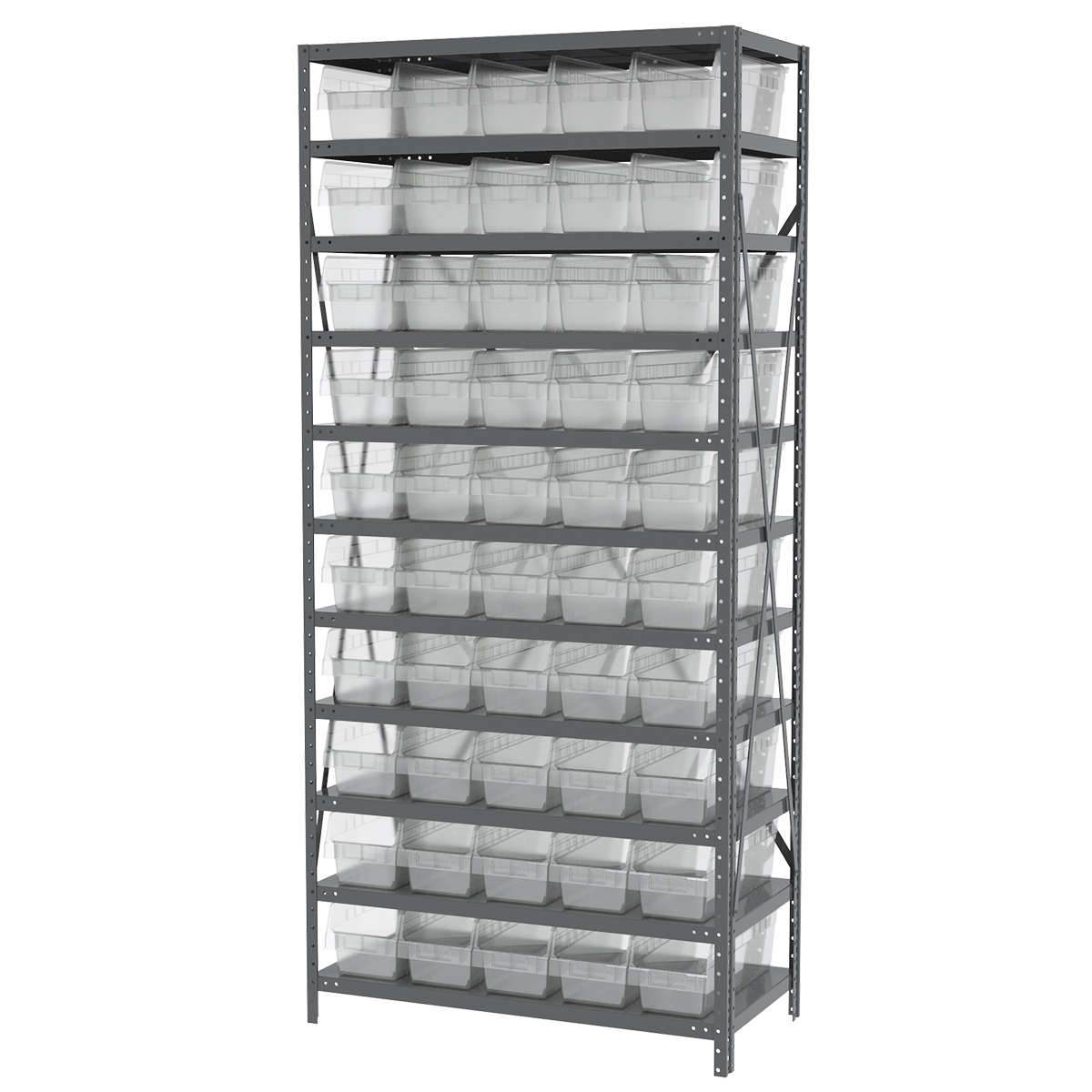 Steel Shelving Kit, 18x36x79, 50 Bins, Gray/Clear.  This item sold in carton quantities of 1.