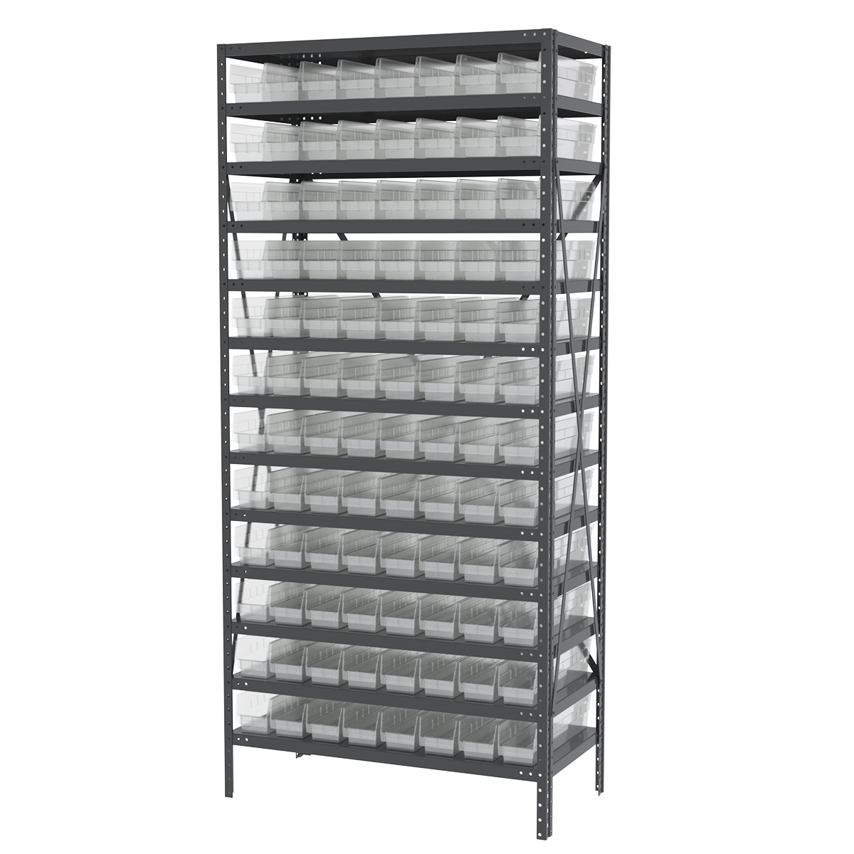 Steel Shelving Kit, 18x36x79, 96 Bins, Gray/Clear.  This item sold in carton quantities of 1.