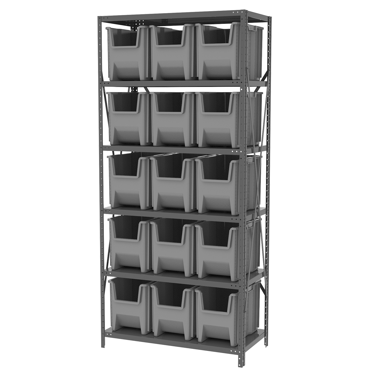Steel Shelving Kit, 18x36x79, 16 Bins, Gray/Gray.  This item sold in carton quantities of 1.