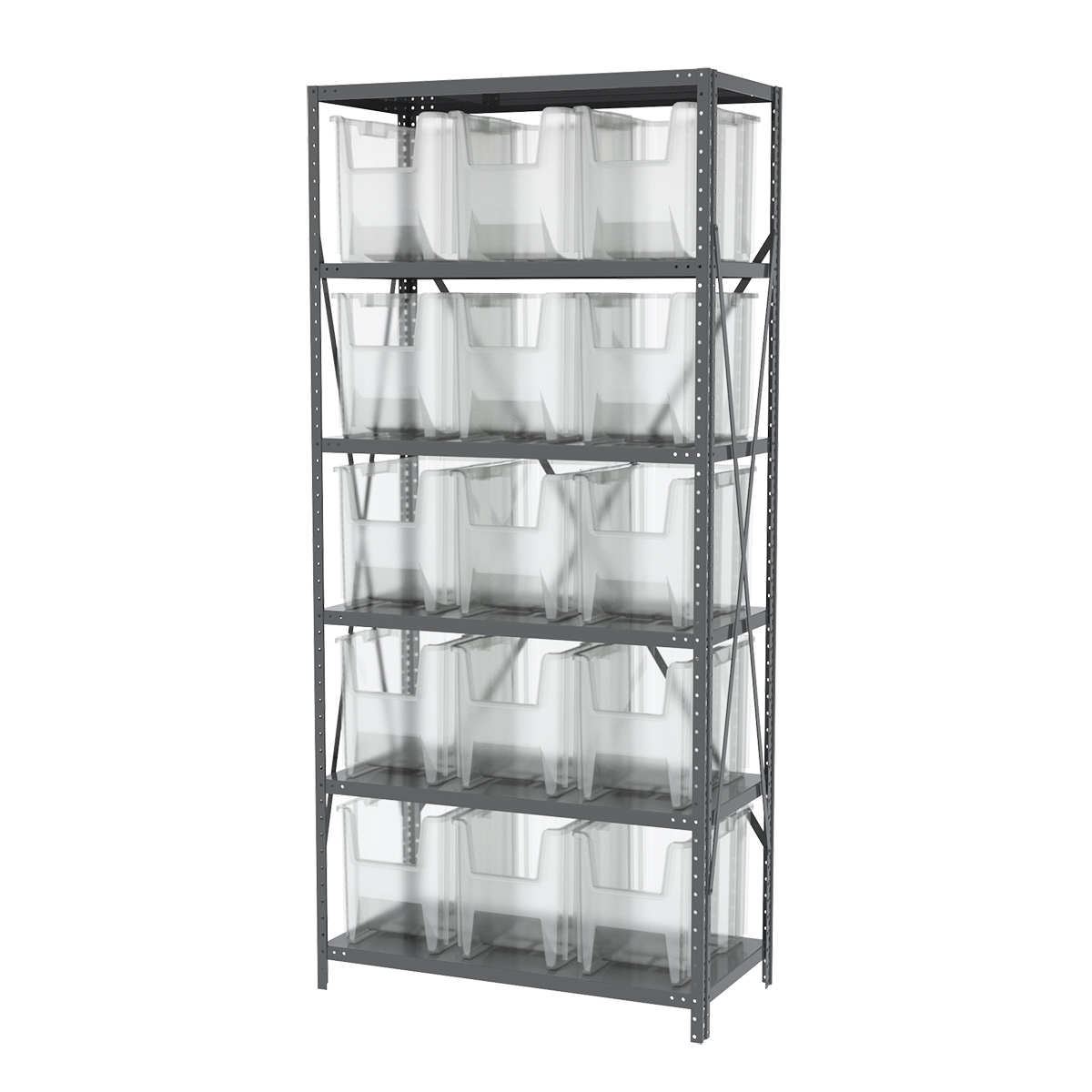 Steel Shelving Kit, 18x36x79, 16 Bins, Gray/Clear.  This item sold in carton quantities of 1.