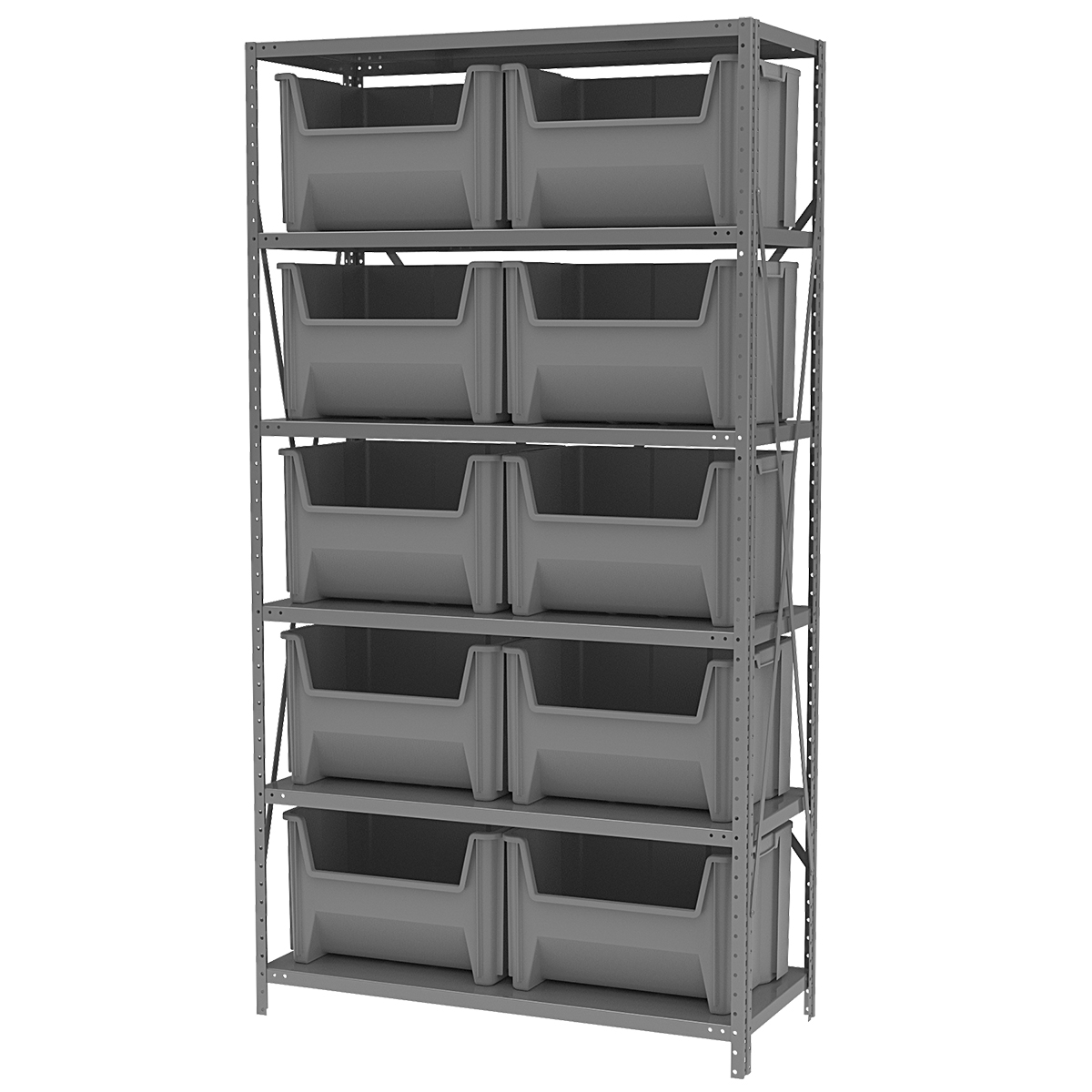 Steel Shelving Kit, 18x42x79, 10 Bins, Gray/Gray.  This item sold in carton quantities of 1.