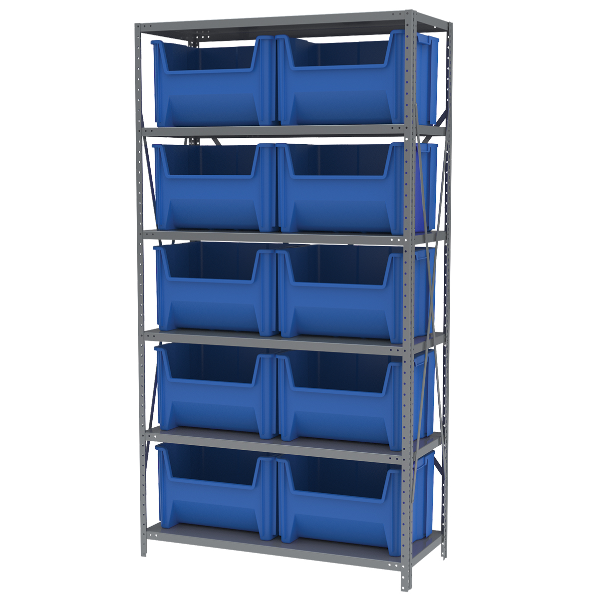 Steel Shelving Kit, 18x42x79, 10 Bins, Gray/Blue.  This item sold in carton quantities of 1.