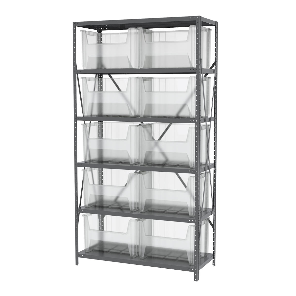 Steel Shelving Kit, 18x42x79, 12 Bins, Gray/Clear.  This item sold in carton quantities of 1.