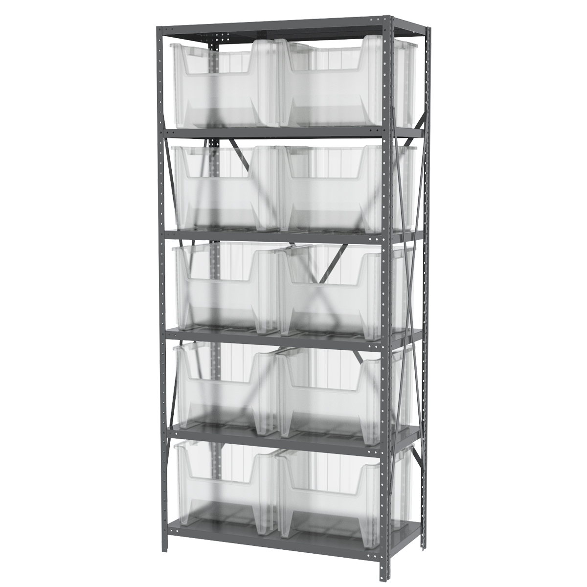 Steel Shelving Kit, 18x36x79, 10 Bins, Gray/Clear.  This item sold in carton quantities of 1.