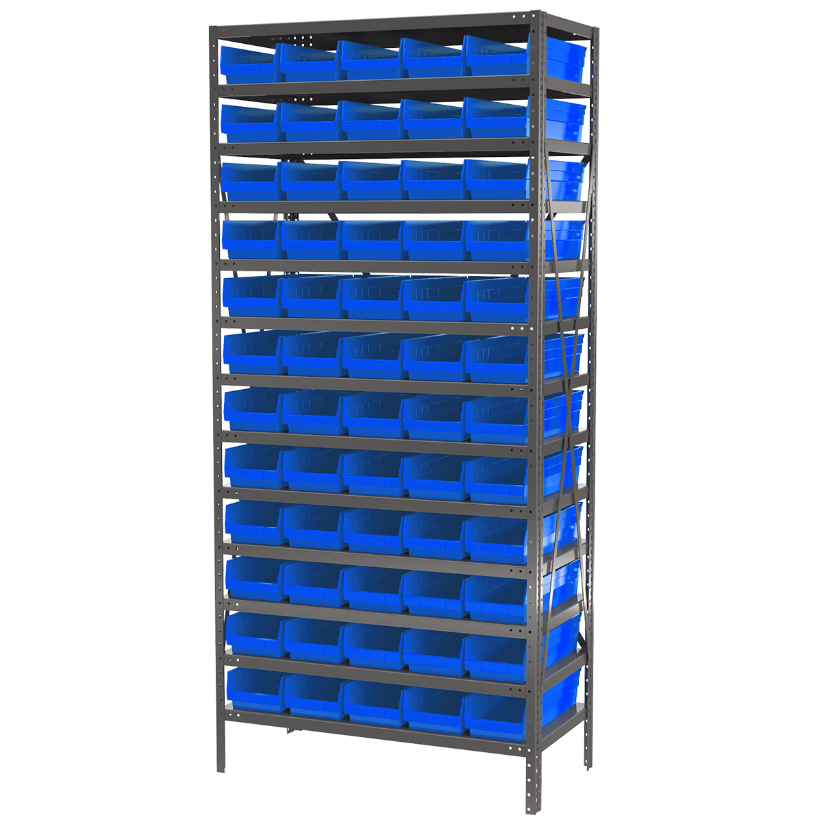 Steel Shelving Kit, 18x36x79, 60 Bins, Gray/Blue.  This item sold in carton quantities of 1.
