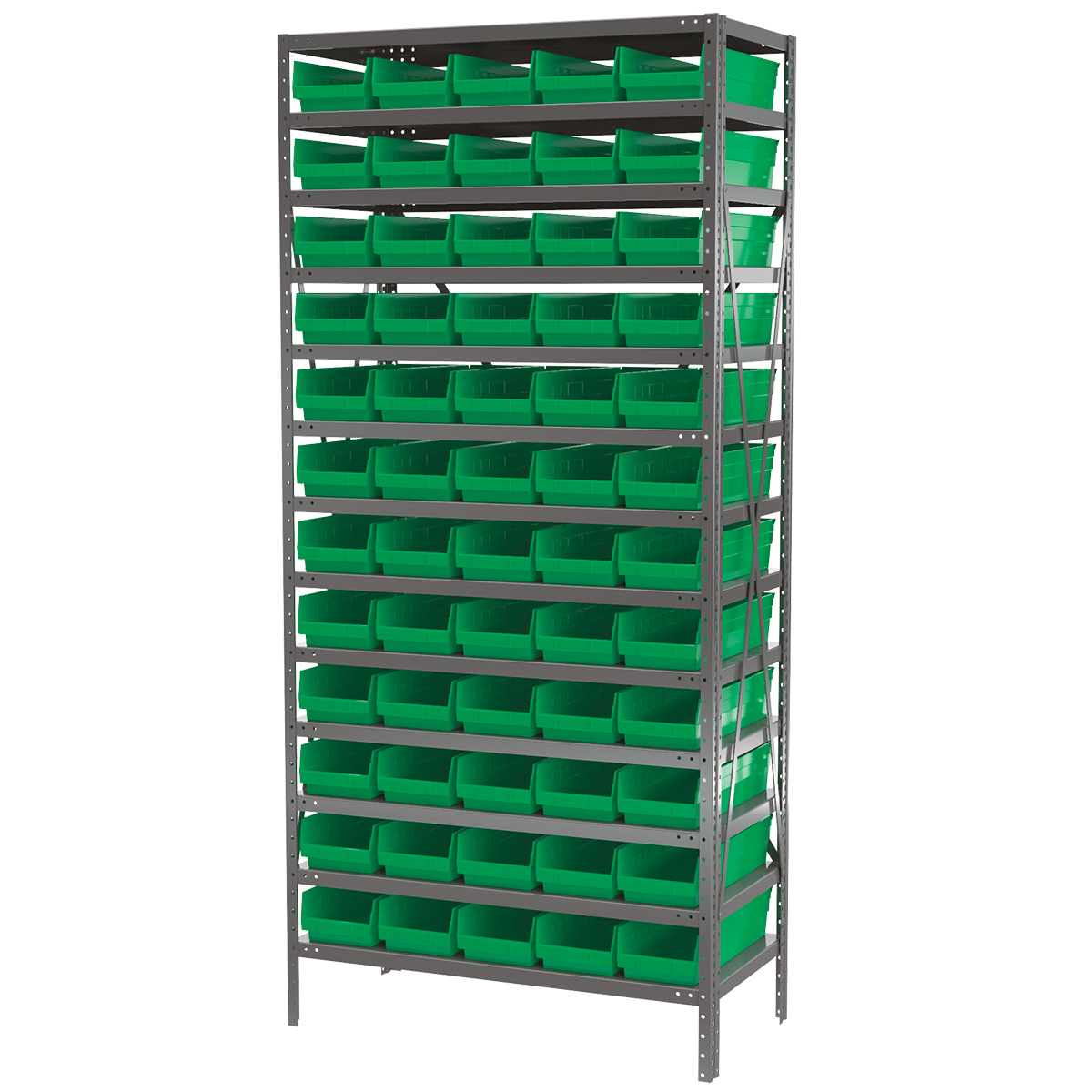 Steel Shelving Kit, 18x36x79, 60 Bins, Gray/Green.  This item sold in carton quantities of 1.