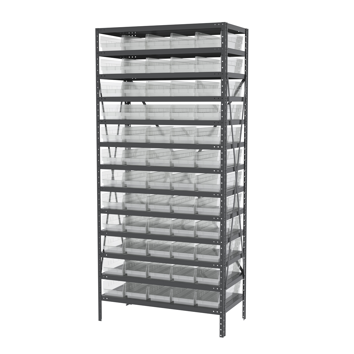 Steel Shelving Kit, 18x36x79, 60 Bins, Gray/Clear.  This item sold in carton quantities of 1.