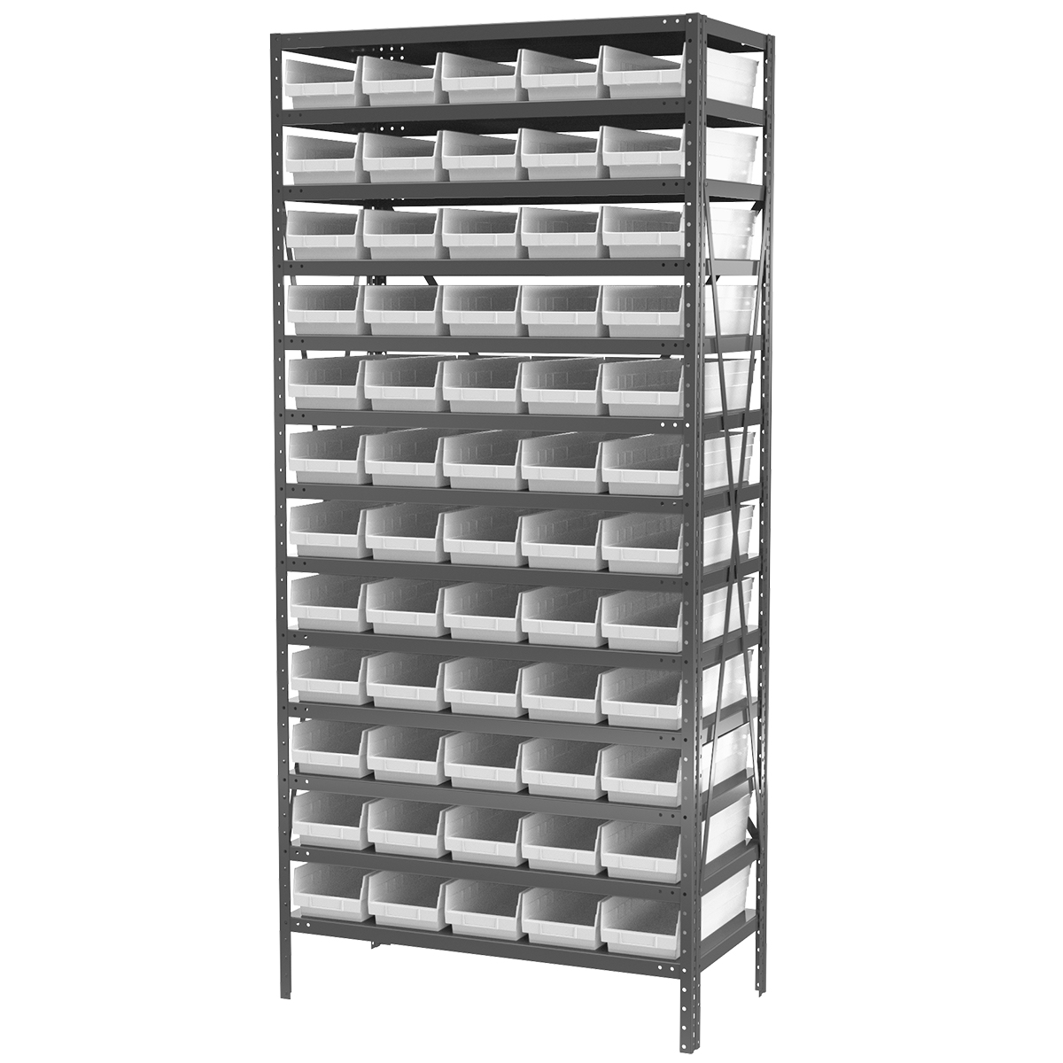 Steel Shelving Kit, 18x36x79, 60 Bins, Gray/White.  This item sold in carton quantities of 1.