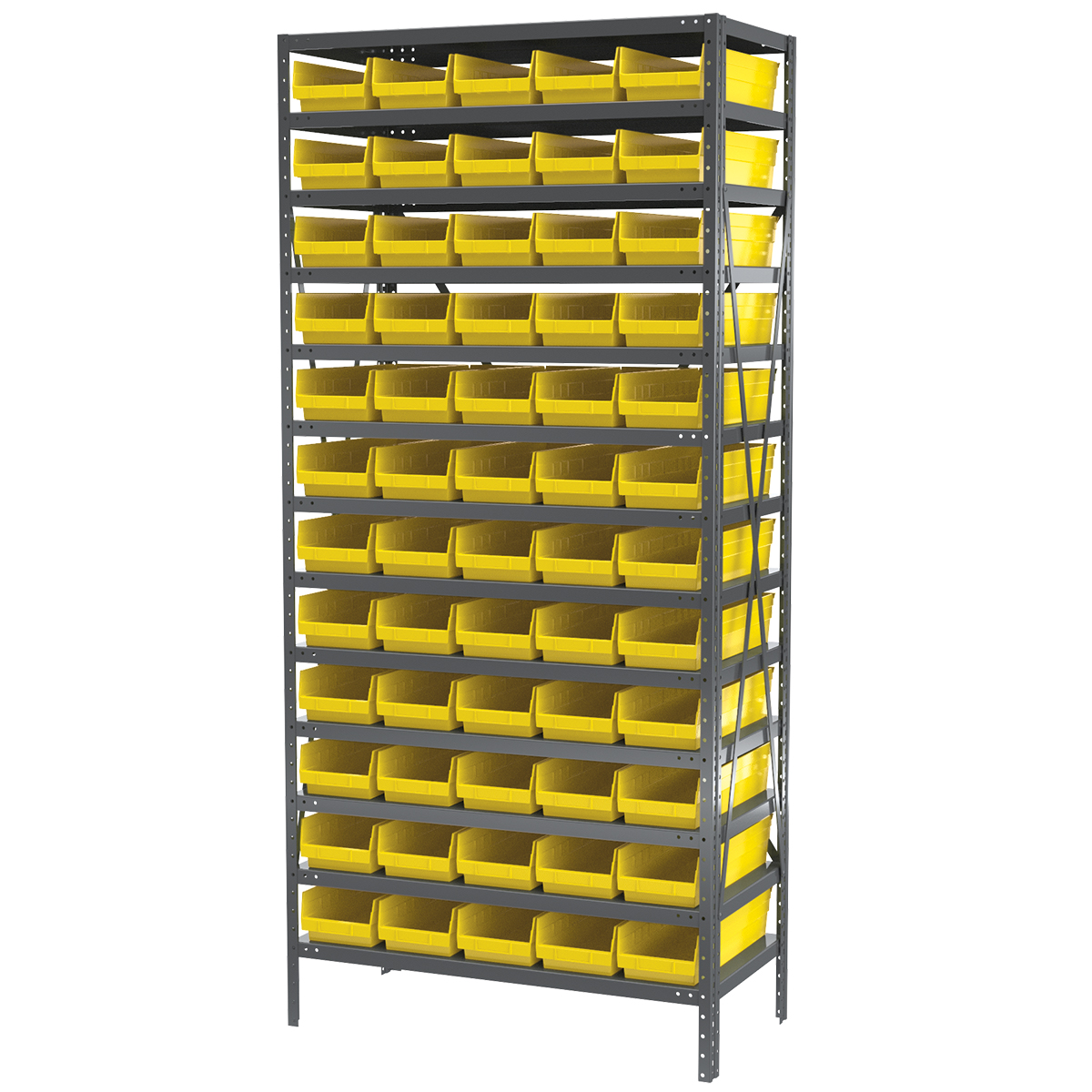 Steel Shelving Kit, 18x36x79, 60 Bins, Gray/Yellow.  This item sold in carton quantities of 1.