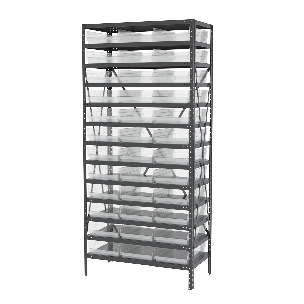 Steel Shelving Kit, 18x36x79, 36 Bins, Gray/Clear.  This item sold in carton quantities of 1.