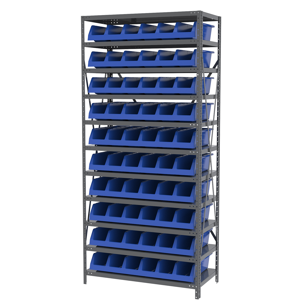 Steel Shelving Kit, 18x36x79, 10 Bins, Gray/Blue.  This item sold in carton quantities of 1.