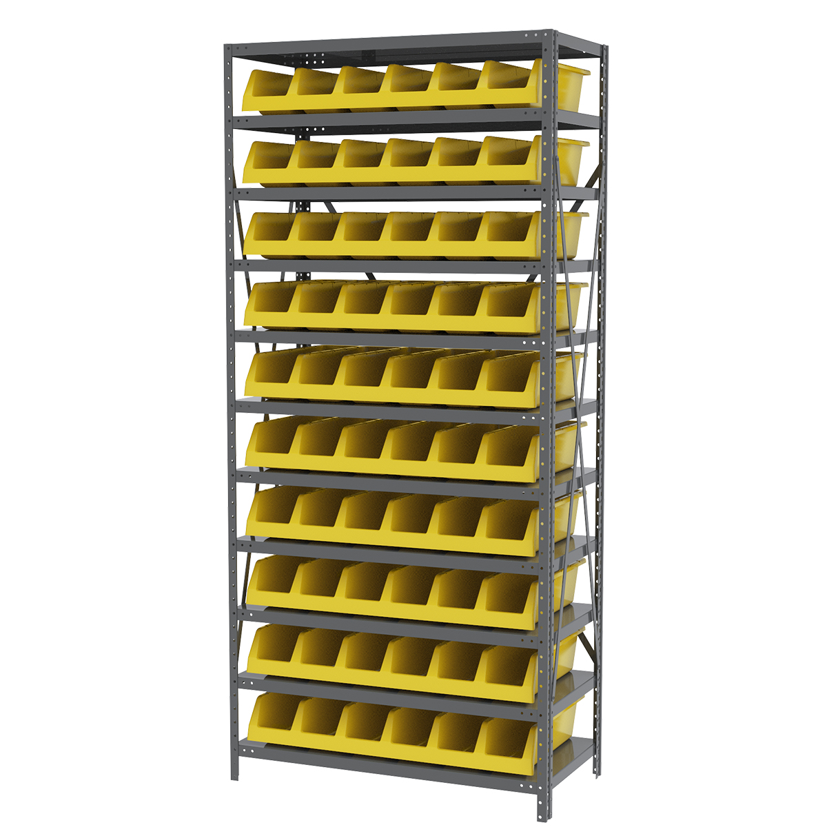 Steel Shelving Kit, 18x36x79, 10 Bins, Gray/Yellow.  This item sold in carton quantities of 1.