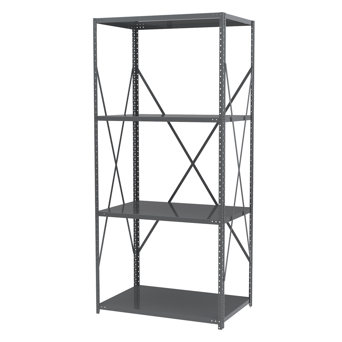 Steel Shelving Kit, 24x36x79, No Bins, Gray (AS2479).  This item sold in carton quantities of 1.