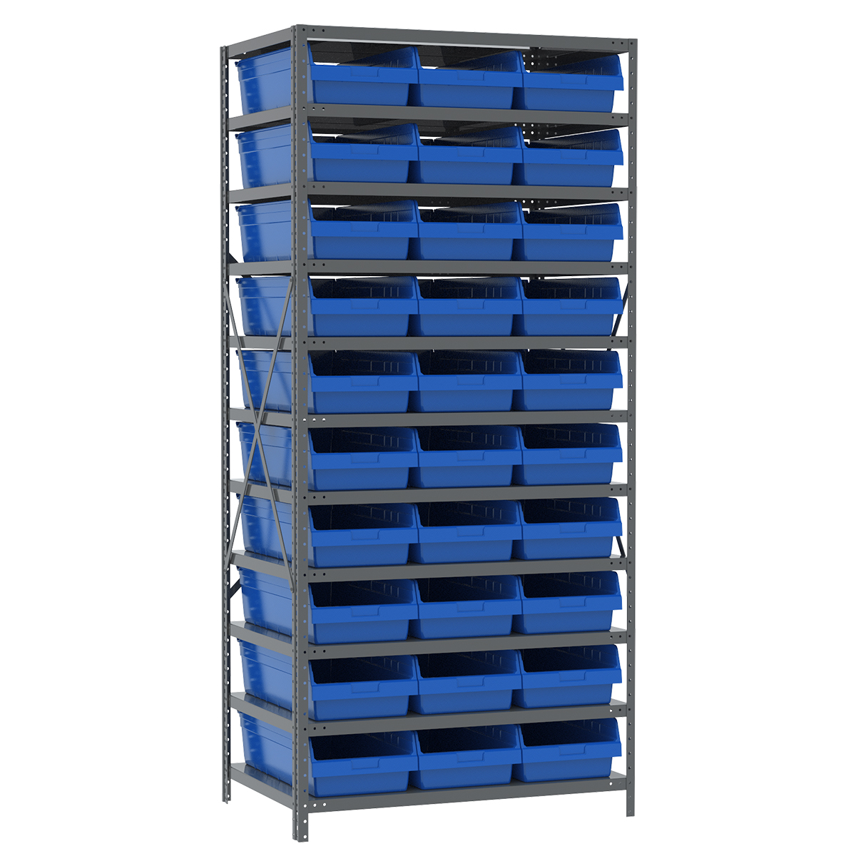 Steel Shelving Kit, 24x36x79, 30 Bins, Gray/Blue.  This item sold in carton quantities of 1.