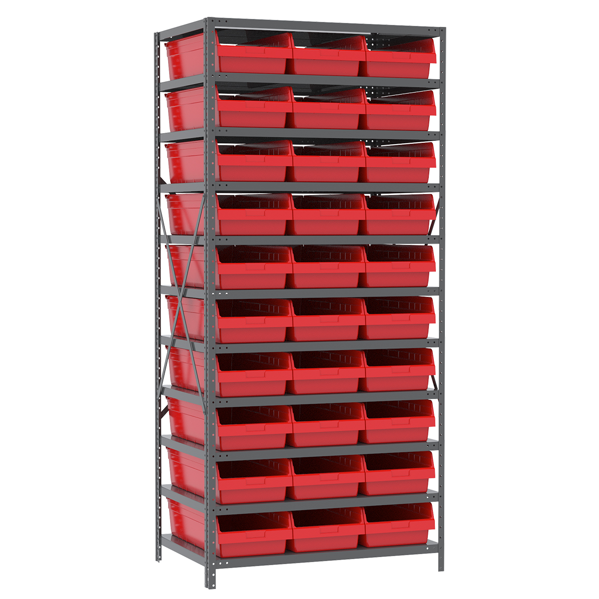 Steel Shelving Kit, 24x36x79, 30 Bins, Gray/Red.  This item sold in carton quantities of 1.