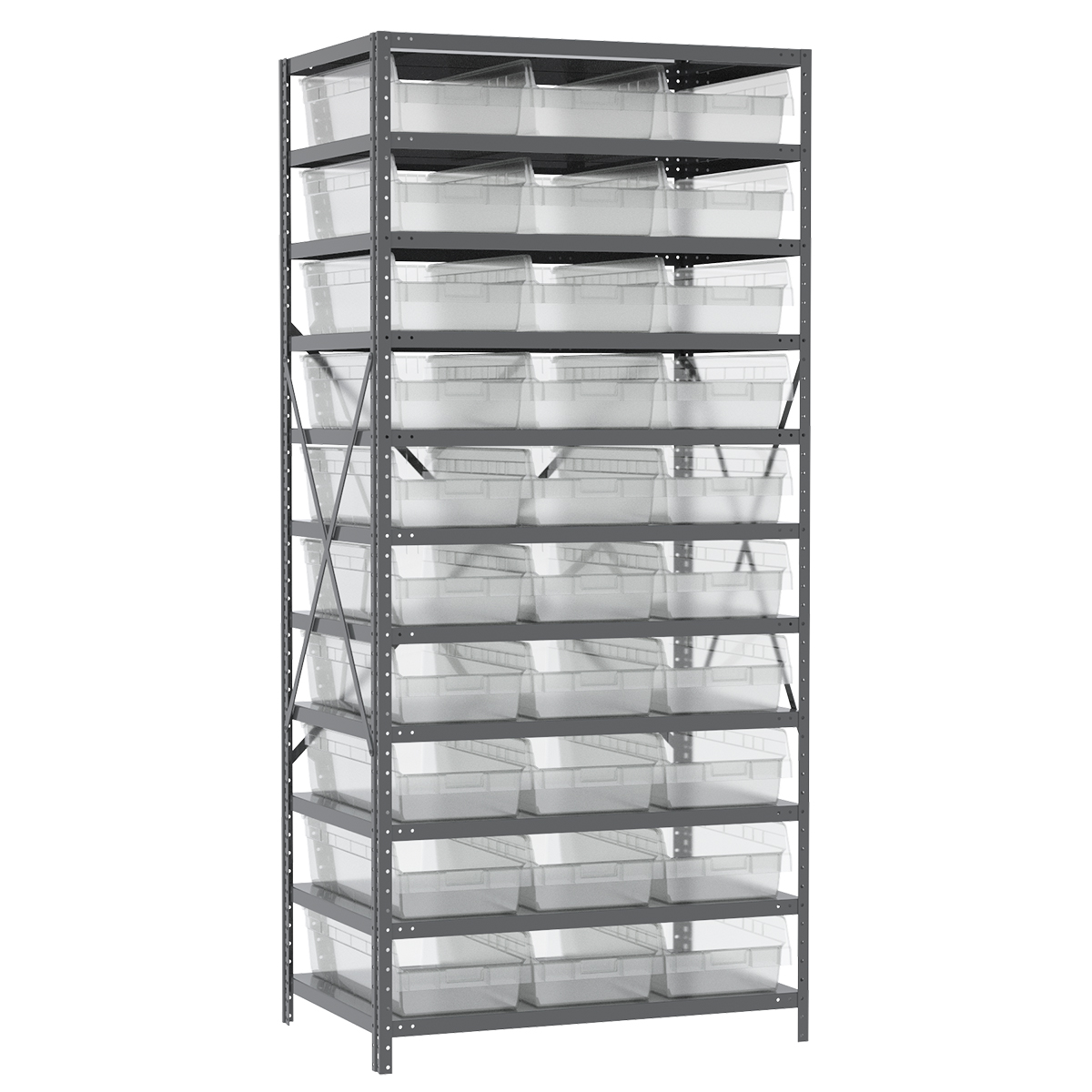 Steel Shelving Kit, 24x36x79, 30 Bins, Gray/Clear.  This item sold in carton quantities of 1.