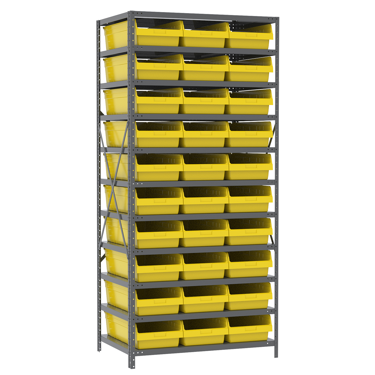 Steel Shelving Kit, 24x36x79, 30 Bins, Gray/Yellow.  This item sold in carton quantities of 1.