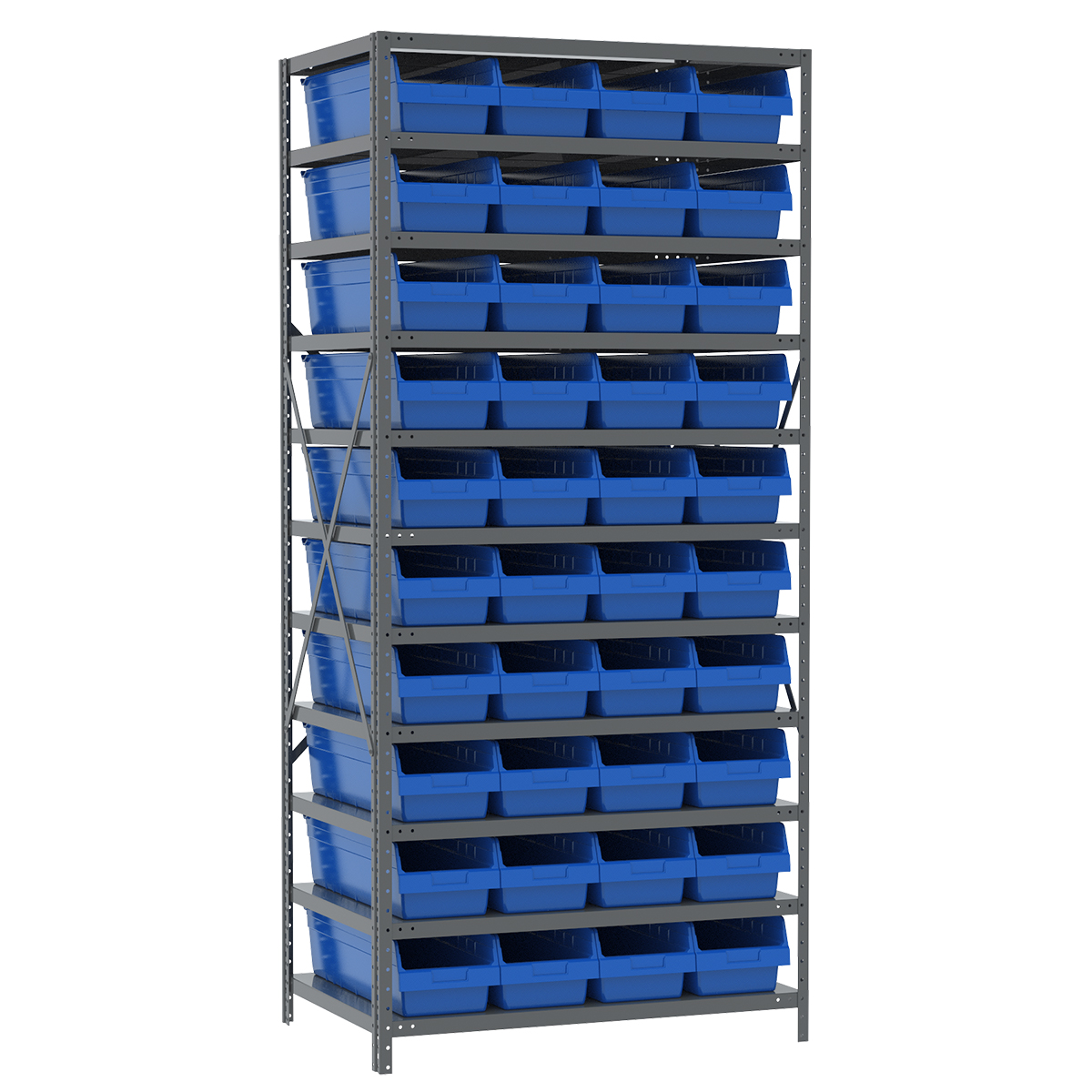 Steel Shelving Kit, 24x36x79, 42 Bins, Gray/Blue.  This item sold in carton quantities of 1.